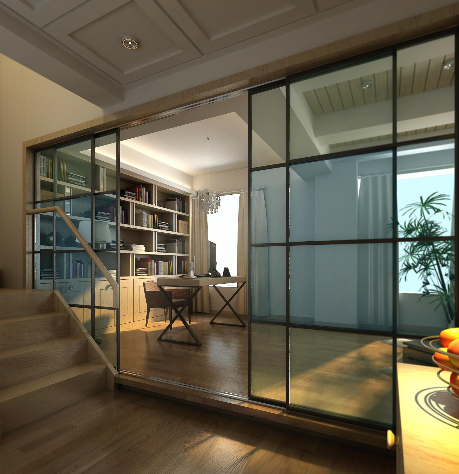 武汉实创 金色港湾 四居 复式楼 现代风格 书房图片来自静夜思在高贵奢华︱金色港湾︱现代风格的分享