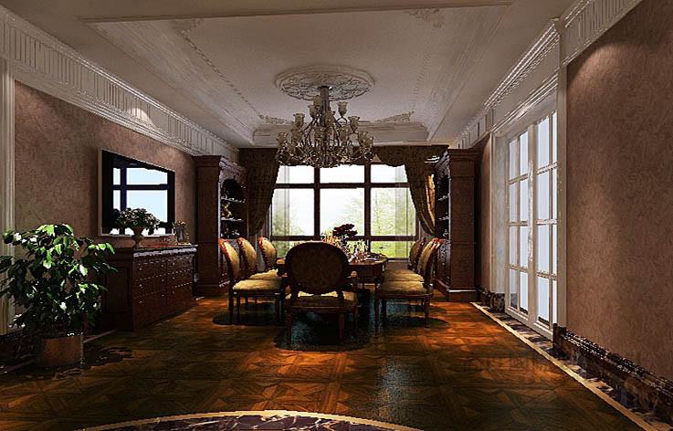 美式 平层 餐厅图片来自高度国际设计装饰在西山壹号院277㎡美式风格案例的分享
