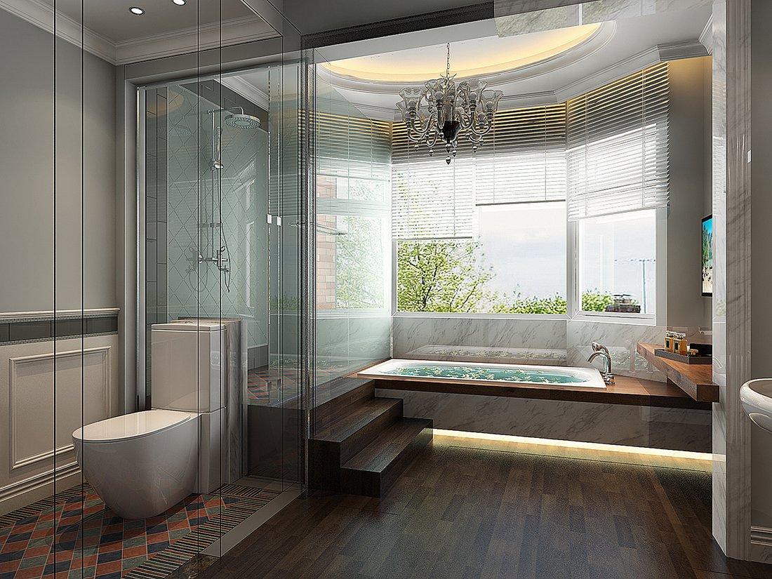 混搭 别墅 白领 尚层装饰 卫生间 卫生间图片来自北京别墅装修案例在黑白时尚混搭生活的分享