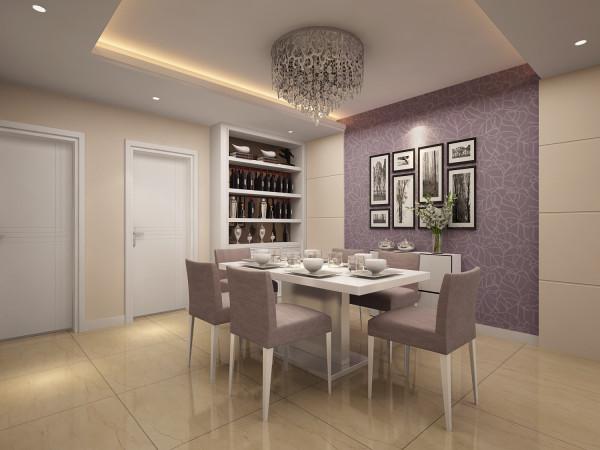 餐厅的设计风格与客厅区域风格相呼应,精致地营造了温馨舒适的就餐环境。采用梦幻紫的壁纸餐厅背景墙,漂亮的照片墙嵌入大自然风景图片,给人以放松舒心的感觉,轻松愉快的享受就餐的乐趣。