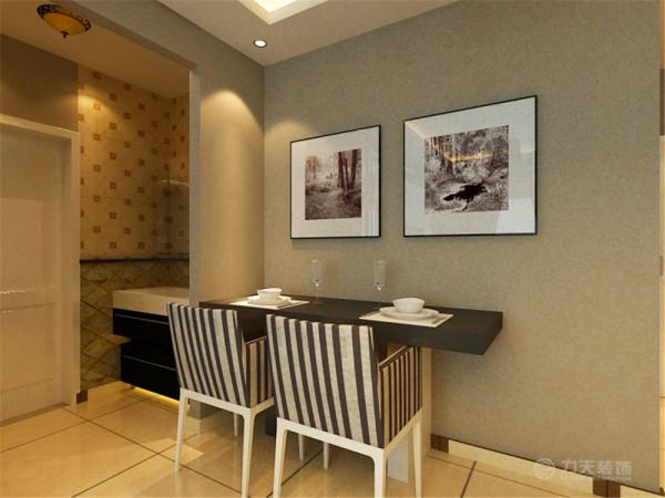 餐厅部分,放置了简单的餐桌,配 两人椅,这样,不会让空间显得很拥挤。