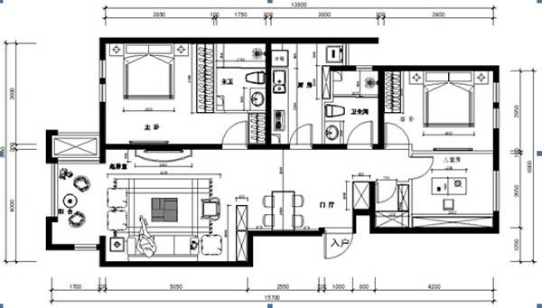 简欧风格 三居 收纳 白领 80后 小资 旧房改造 户型图图片来自YI依帆2012在建邦华庭奢华简欧风格案例赏析的分享