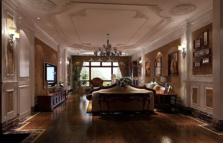 美式 平层 客厅图片来自高度国际设计装饰在西山壹号院277㎡美式风格案例的分享
