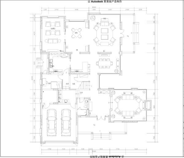 君山别墅一层平面布置图展示