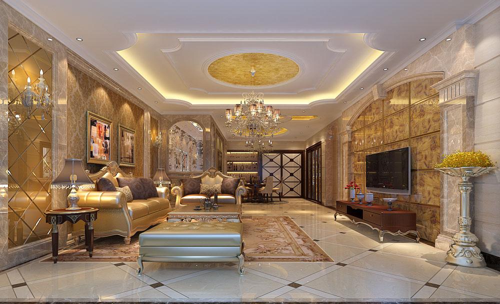 欧式 田园 简约 别墅 白领 客厅图片来自好易家装饰集团在水木丹华的分享