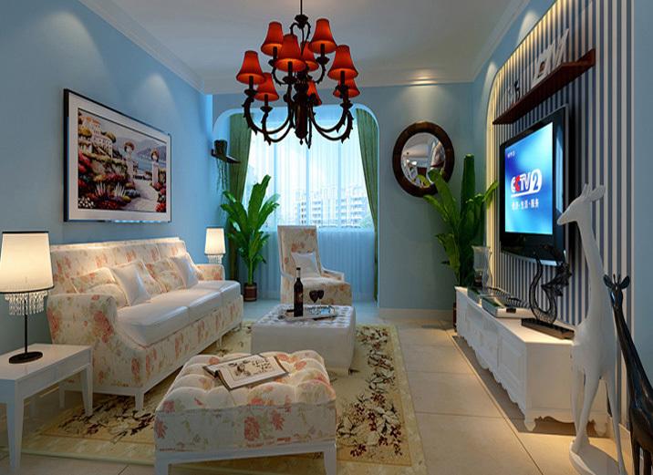 客厅图片来自今朝装饰小闫在蓝色调演绎K2清水湾的分享