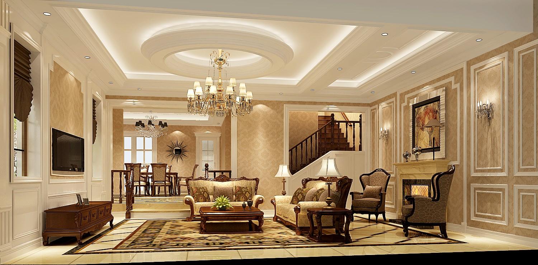 美式 别墅 白领 小资 80后 客厅图片来自沙漠雪雨在42万打造500㎡原河名墅美式别墅的分享