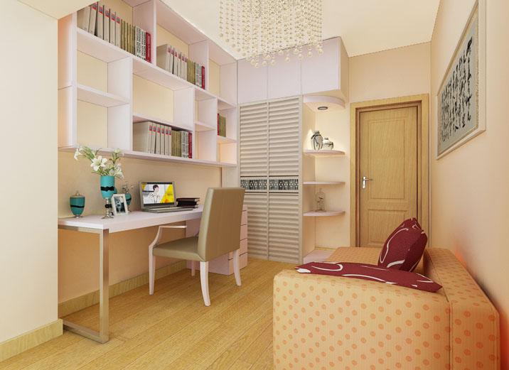 现代简约风 三居室设计 婚房设计 装修效果图 书房图片来自上海实创-装修设计效果图在114平米君悦湾现代简约风格设计的分享