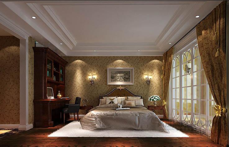 美式 平层 卧室图片来自高度国际设计装饰在西山壹号院277㎡美式风格案例的分享