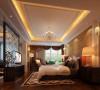 主卧床头背景将窗帘盒延伸,将零碎的空间粘合为一体。书房与主卧室做成套间,花格屏风隔断保持统一性之余又能得到绝对性的静谧。