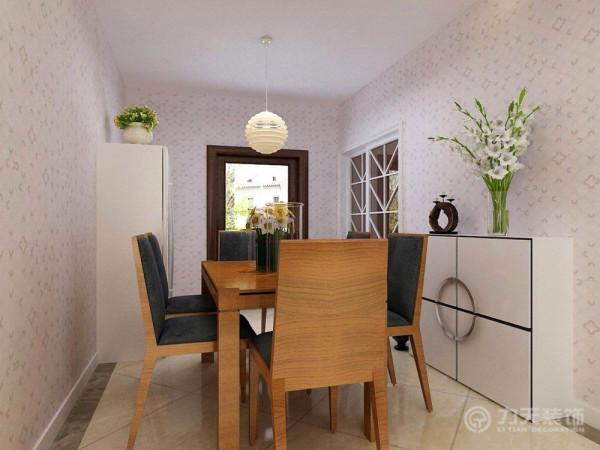 客餐厅采用了整体墙面壁纸装饰的手法,选用的简约现代壁纸。
