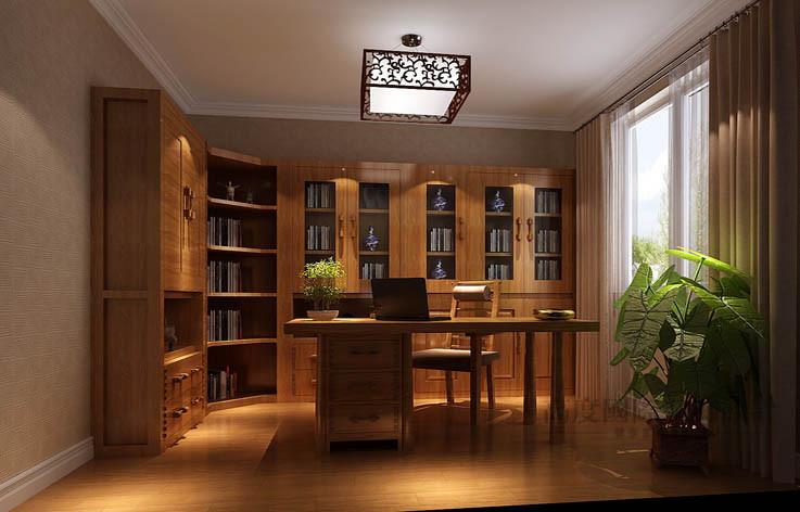 中式 公寓 书房图片来自高度国际设计装饰在军区大院150㎡新中式 风格的分享