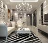 轻装修重装饰,银灰色的色调整体突显高贵的气质。黑白条纹地毯使整个空间有灵动延展性。打破欧式考究的束缚,使现代风格和欧式风格更好的融合。
