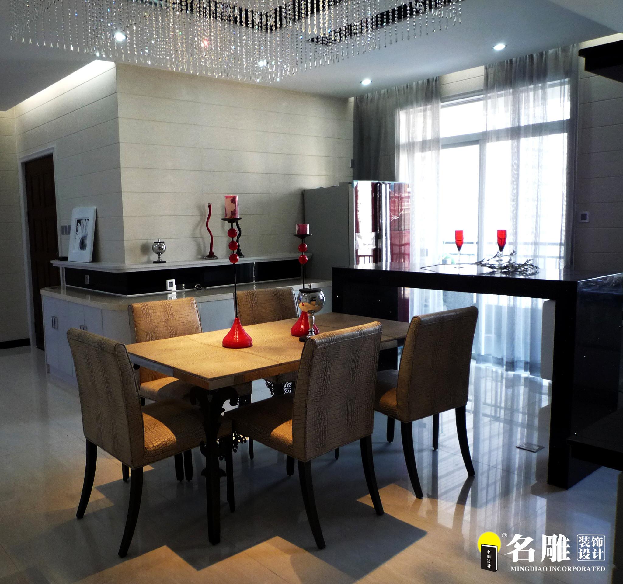 现代 三居 白领 四口之家 时尚个性 名雕装饰 餐厅 餐厅图片来自名雕装饰设计在枫丹白露现代时尚三居室装修设计的分享