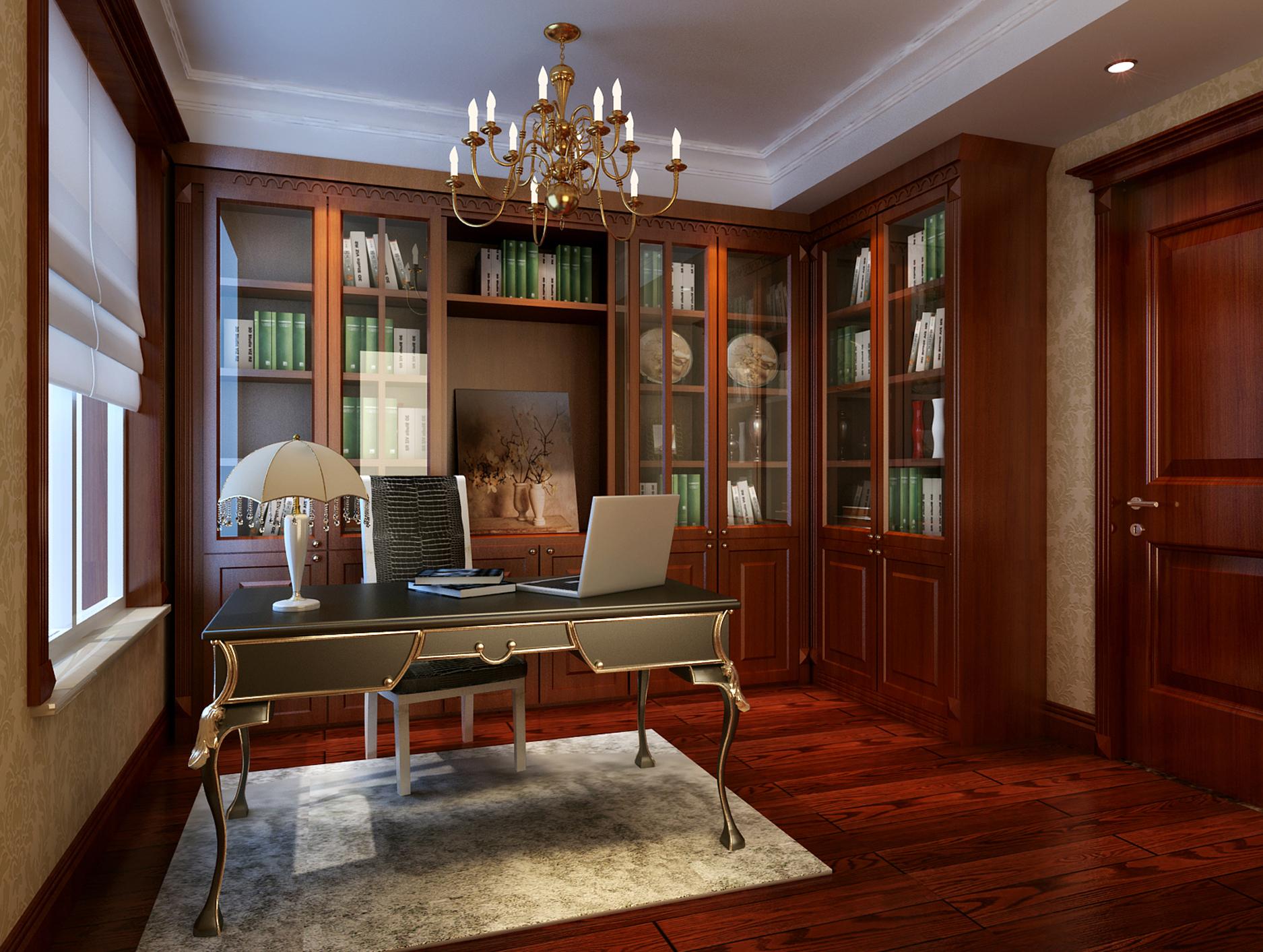 三居 欧式新古典 书房图片来自鱼在轻舟在鸿坤曦望山~145平欧式新古典风格的分享