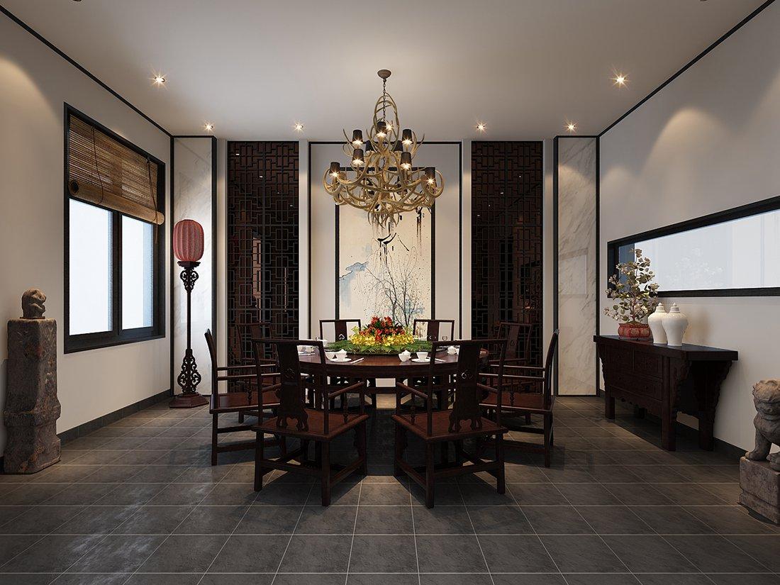 中式 别墅 白领 尚层装饰 餐厅 餐厅图片来自北京别墅装修案例在中式气质,禅意东方的分享