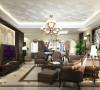 客厅是主人生活品味的象征,体现了主人的品格与地位,也是交友娱乐的场合,电视背景墙采用砂岩与墙板相间的装饰方法,刚劲的砂岩与墙板巧妙结合,使原本完美的空间更显高贵与奢华。