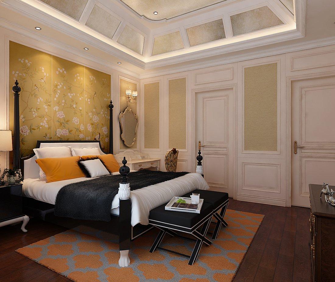 美式 别墅 白领 尚层装饰 次卧 卧室图片来自北京别墅装修案例在温馨浪漫的美式家庭的分享