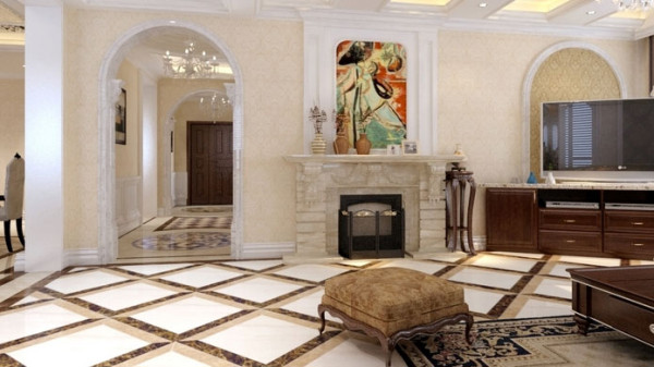 地面材料以拼花石材或地板为主。欧式 客厅要用家具和软装饰来营造整体效果。果。 在设计上,材料选用高档红胡桃饰面板、欧 式风格壁纸、,石膏装饰线等。