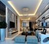 客厅主题墙采用进口壁纸,墙面两侧采用灰镜进行装饰,使整个客厅空间有种围合感,空间功能分区更明确,条纹的浅色沙发与周围壁纸相呼应。