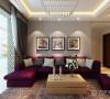 给人一种温馨舒适的感觉,紫色系沙发柔软舒适,灰色给人平静的感觉,客厅餐厅层次分明,错落有致,为空间增加了一丝跳跃感。
