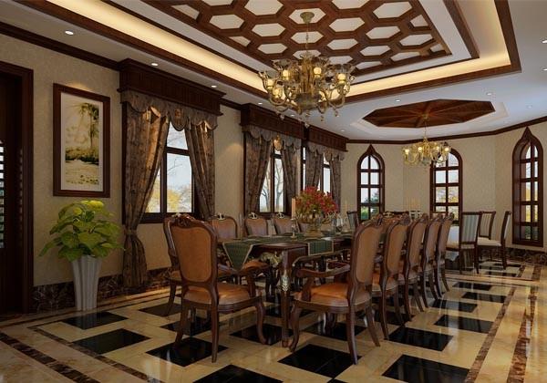 温哥华山庄别墅装修设计中式古典风格-餐厅效果图