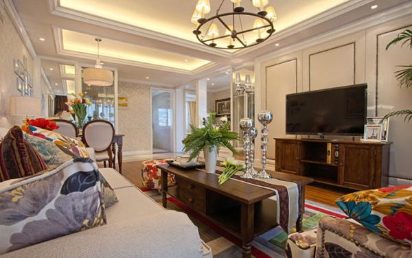 客厅图片来自潍坊万泰装饰在120平售楼样板实景的分享