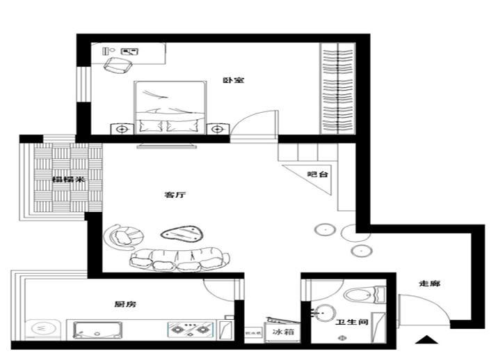 户型图图片来自xushuguang1983在三口之家翻新的60平米一居室的分享
