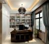 白色的书柜,配上绿色植物的点缀,使空间更自然,舒适