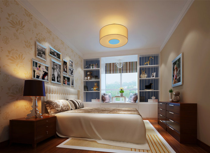武汉实创 锦绣长江 中式 三居 小资 卧室图片来自静夜思在世茂锦绣长江简约中式的分享