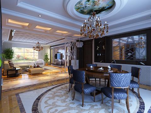 欧式 别墅 80后 白领 餐厅图片来自沈阳林凤装饰装修公司在远洋岦宫236㎡现代欧式的分享