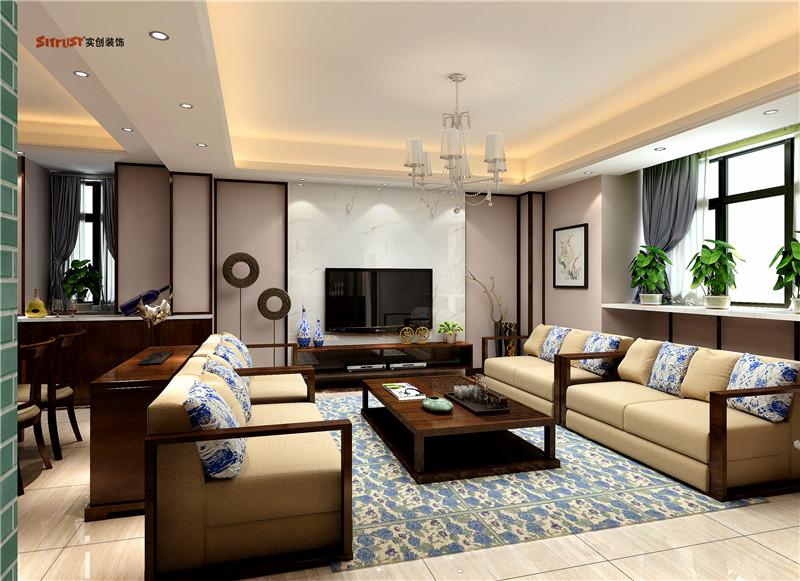 简约 中式 复式装修 实创装饰 温馨 客厅图片来自武汉实创装饰在简静东方东澜岸复式逍遥似神仙的分享