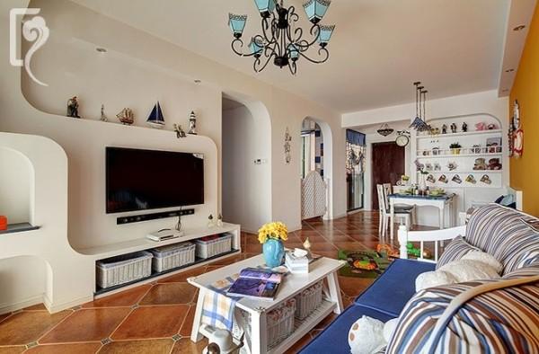 地中海风格的电视墙造型,简单纯美!