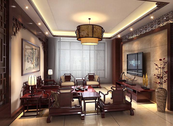 简约 三居 新中式风格 旧房改造 80后 小资 客厅图片来自北京实创装饰在玉泉新城170平米新中式三居的分享