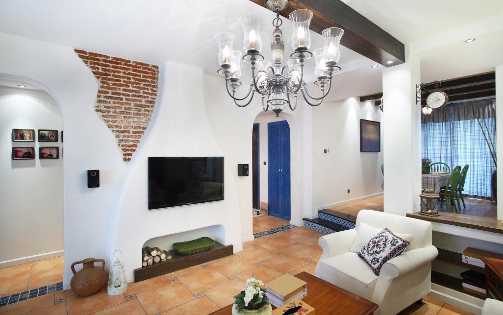 客厅图片来自潍坊万泰装饰在地中海风情 130平三居室的分享