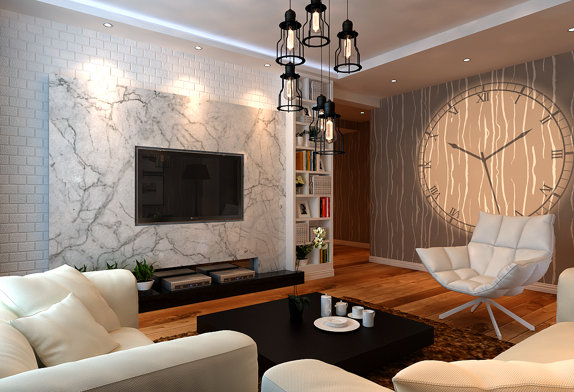 客厅图片来自潍坊万泰装饰在温馨小婚房 120平现代简约设计的分享