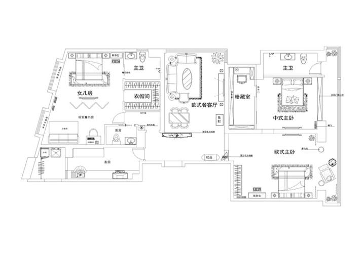 欧式 田园 混搭 二居 别墅 旧房改造 户型图图片来自北京实创装饰在旭辉御府240平米欧式四居的分享