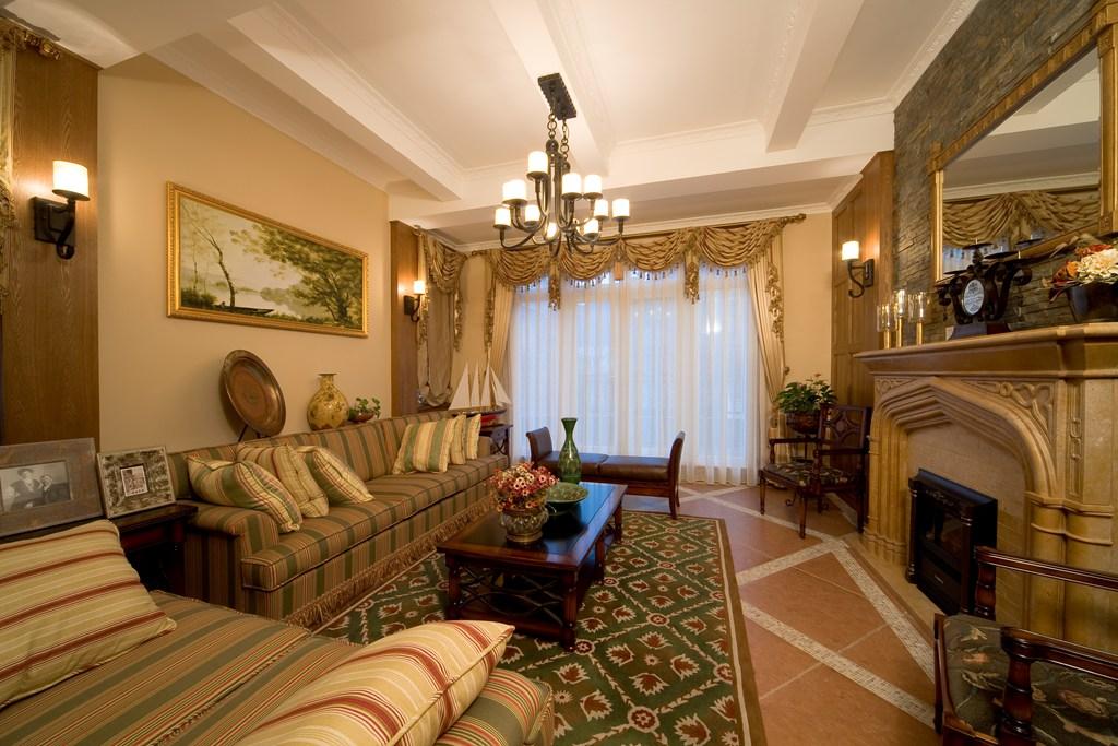 美式 别墅 舒适 大气 奢华 客厅图片来自武汉实创装饰在玉龙岛美式乡村别墅的分享