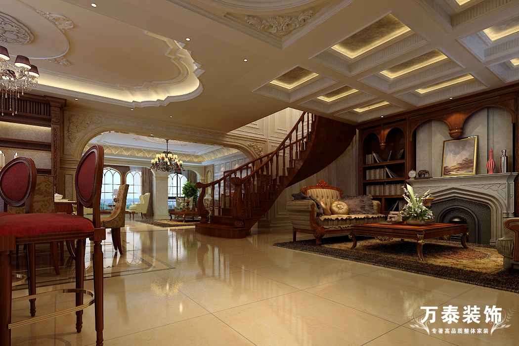 楼梯图片来自潍坊万泰装饰在临朐揽翠湖新古典别墅的分享