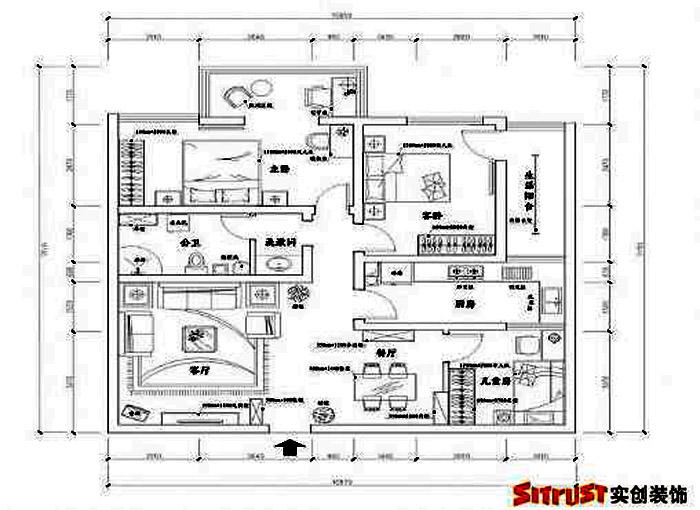 户型图图片来自多芬宝贝在7.9万装混搭风格-120平三居室的分享