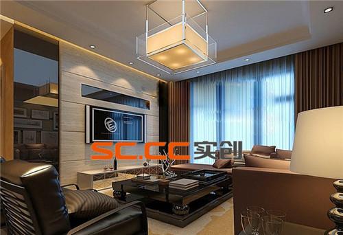 客厅富于时尚现代感,而又不失沉稳,灯具精心选用现代中式风格予以装饰