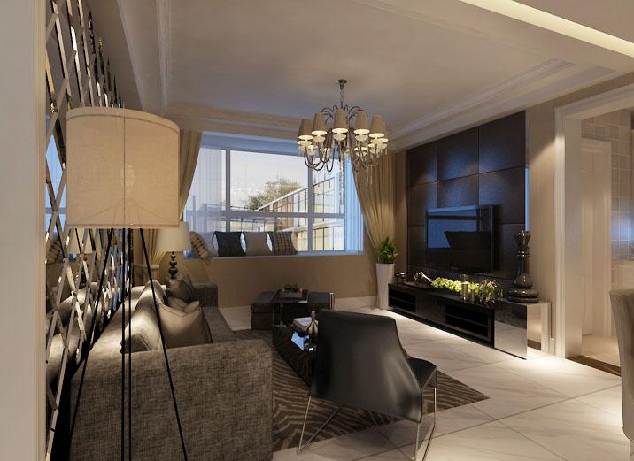 现代黑白搭 110平米 装修效果图 现代奢华风 客厅图片来自上海实创-装修设计效果图在110平米汇智湖畔家园现代黑白搭的分享