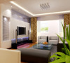清新明亮的客厅 设计理念:银色金属条纹质地的电视背景墙是客厅的一大亮点,它使得居室内宁静质朴的氛围中,生出一抹亮色,再配以蓝色灯光,炫目而不耀眼。