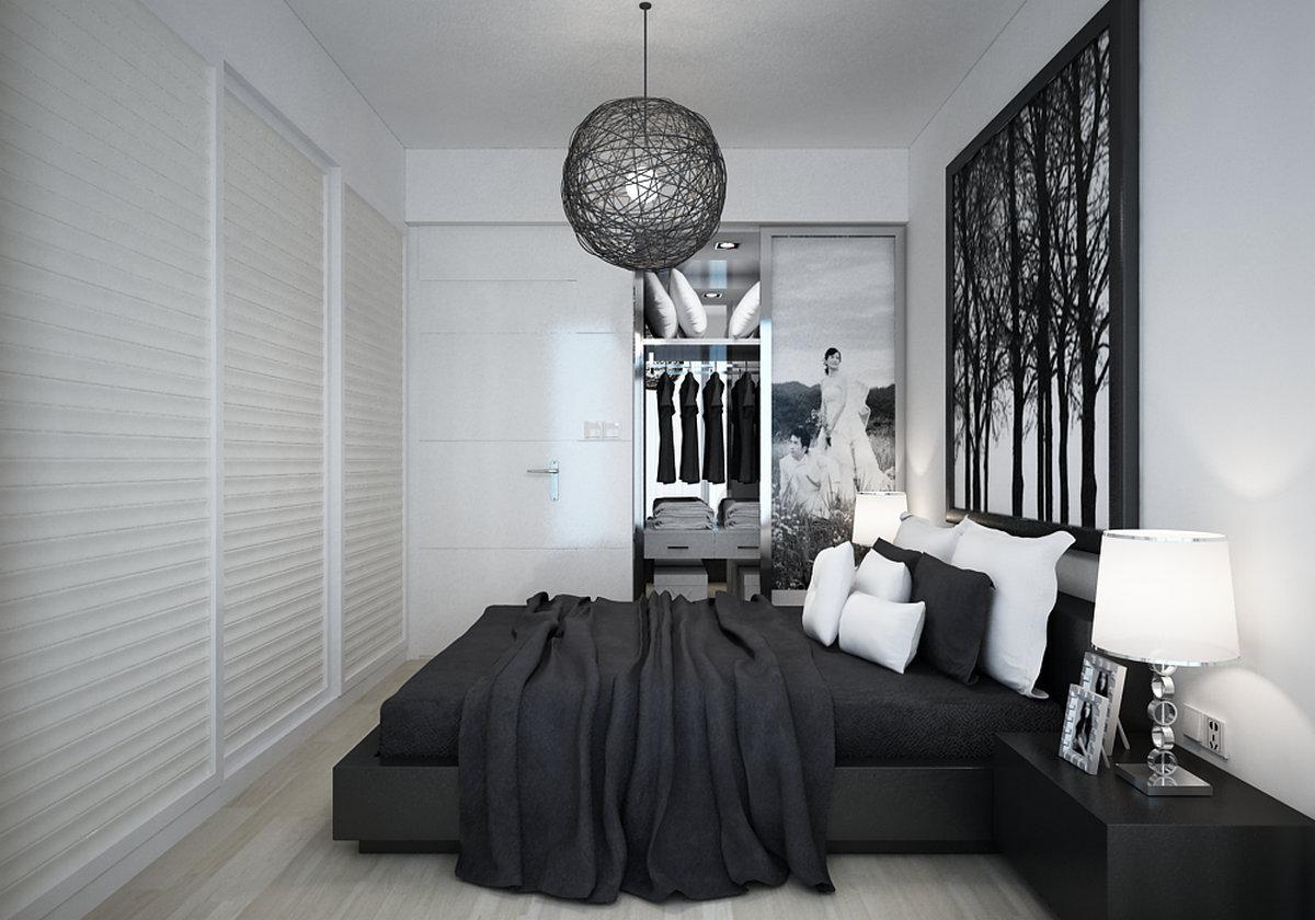 二居 现代简约 客厅 餐厅 卧室 玄关 厨房 卧室图片来自实创装饰晶晶在现代简约黑白绿三元素结合的分享