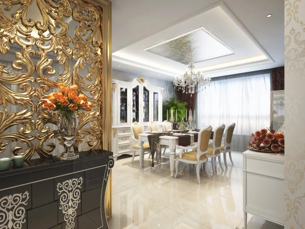 餐厅的设计,通过银色的欧花壁纸做背景,晶莹剔透的水晶吊灯,白色的兽脚酒柜,以及浅色的石材地面来创造一个舒适,大气的就餐环境。