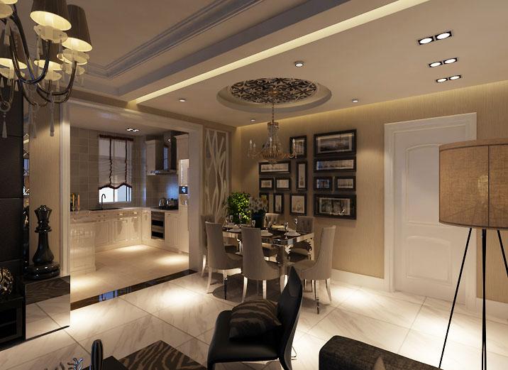 现代黑白搭 110平米 装修效果图 现代奢华风 餐厅图片来自上海实创-装修设计效果图在110平米汇智湖畔家园现代黑白搭的分享