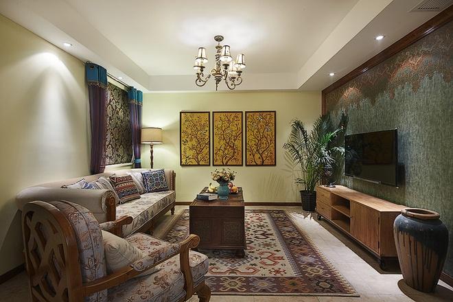 客厅图片来自家装大管家在放逐的波西米亚 107平魅力混搭居的分享