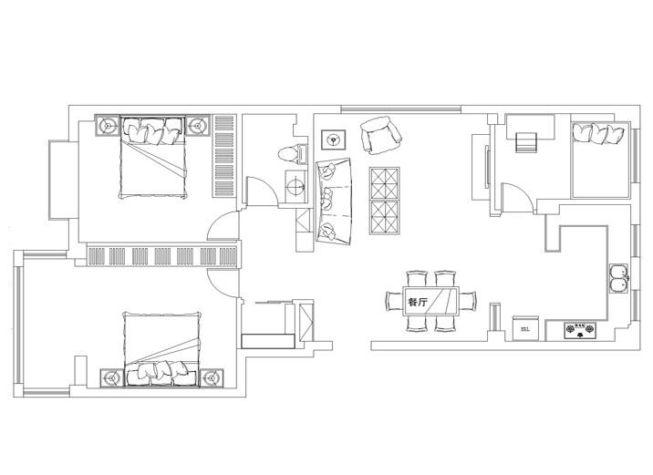 现代黑白搭 110平米 装修效果图 现代奢华风 户型图图片来自上海实创-装修设计效果图在110平米汇智湖畔家园现代黑白搭的分享