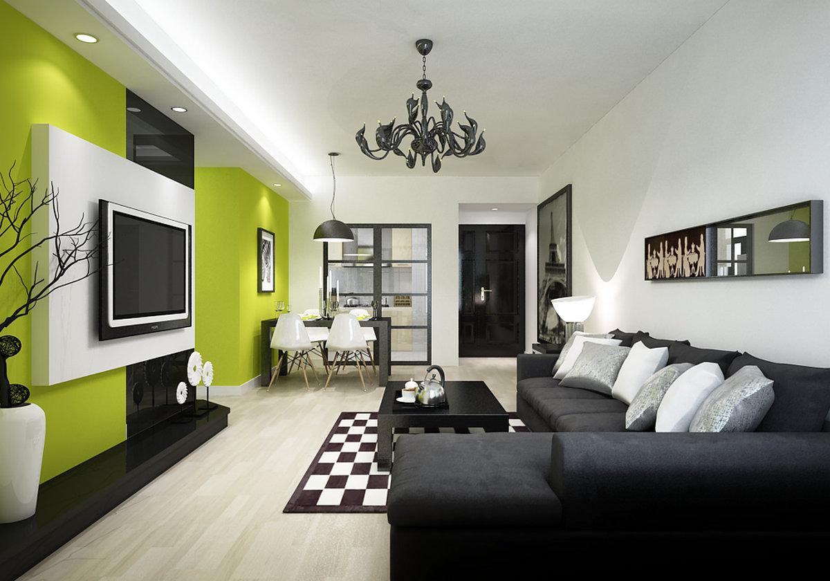 二居 现代简约 客厅 餐厅 卧室 玄关 厨房 客厅图片来自实创装饰晶晶在现代简约黑白绿三元素结合的分享