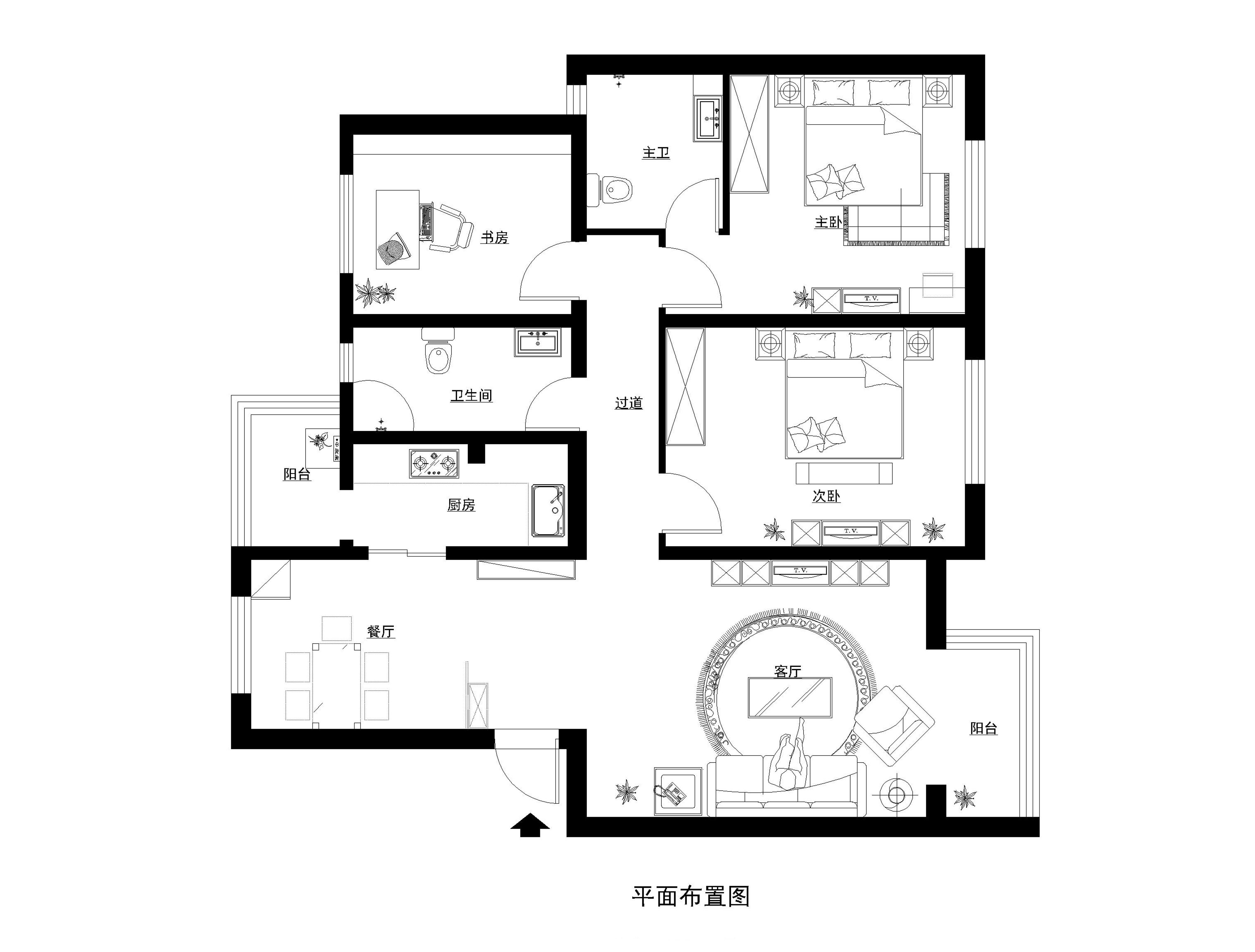 简约 欧式 三居 户型图图片来自实创装饰上海公司在清新雅致三居室欧式装修的分享